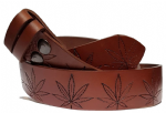 "Cannabis Leaf Embossed Veg tanned Brown Leather Belt . 1½"" (38mm) Wide"